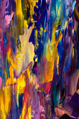 Colorful abstract painting background. Oil paint. Texture palette knife. Can be used for web design, art print, textured fonts, figures, shapes, etc.