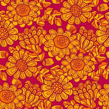 Autumn flower marigold seamless pattern