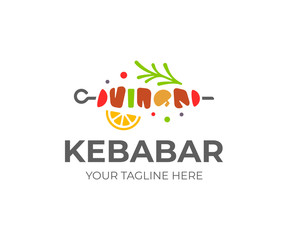 Shish kebab logo design. Meat skewer with vegetable vector design. Grilled meat skewers logotype
