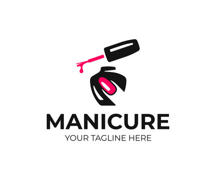 Nail salon logo design. Manicure vector design. Nail polish and female finger logotype
