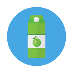 Pack of apple juice flat icon isolated on blue background. Simple juice package in flat style, vector illustration for web and mobile design.