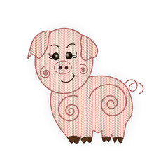Knitted pig. Symbol of the year. on a white background