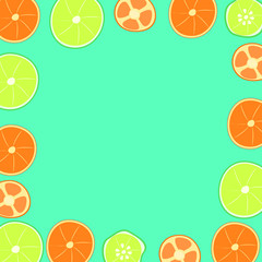 citrus on a green background