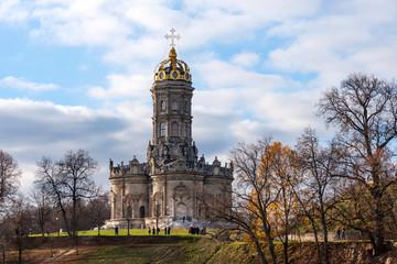 Panoramic beautiful view of the Dubrovitsy Estate. Znamenskaya church Podolsk Moscow region Russia. Golden autumn.