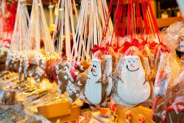 Gingerbread traditional christmas cookies at German traditional Christmas Market