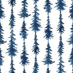 Watercolor indigo blue shibori seamless pattern