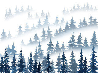 Watercolor misty pine trees landscape. Christmas and New Year illustration in indigo blue