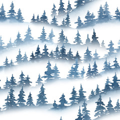 Watercolor pine trees silhouettes. Christmas and New Year seamless pattern