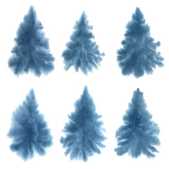 Watercolor set of hand painted Christmas trees