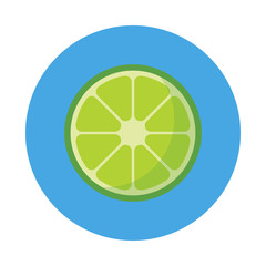 Sliced lime flat icon isolated on blue background. Simple fruit in flat style, vector illustration.