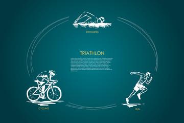 Triathlon - swimming, cycling, run vector concept set