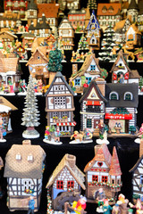 Christmas market kiosk details - coloful traditional german houses close up