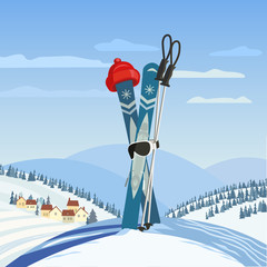 Fancy winter poster. Cute comic frosty snowman in sport hat with mountain skies. Funny snow ball skier cartoon. Mountain rural village background. Leisure nature outdoor activity vector illustration