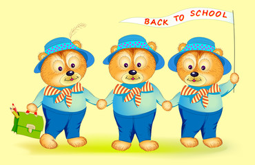 Fantasy illustration of three cute little bears going back to school. Cover for children school textbook. Hand-drawn vector cartoon image.