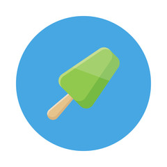 Fruit ice pop, popsicle flat icon isolated on blue background. Simple ice cream in flat style, vector illustration for web and mobile design. Sweets vector illustration.