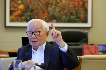 Taiwan Semiconductor Manufacturing Co (TSMC) chairman Morris Chang attends an interview with Reuters in Hsinchu