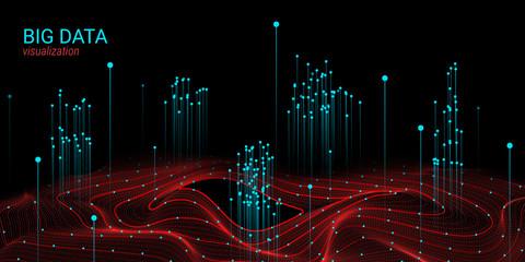 Wave 3D Big Data Visualization. Analysis Infographic.