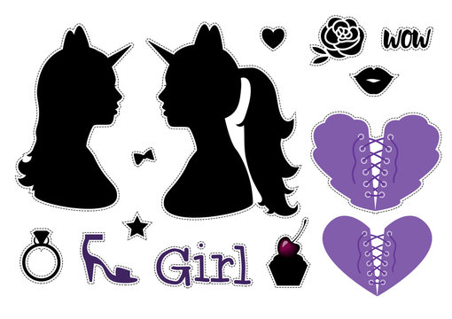 Happy Halloween Set Girl silhouette head with neck shoulders side view. Black stickers. Vector illustration isolated on white background.