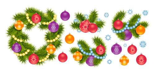 Christmas decoration, set of 3D isolated elements. Fir tree wreath, balls, snowflakes. Realistic vector illustration.