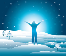 Happy woman with hands up on the top of snowy mountains. Girl enjoys the falling snowflakes and the beginning of winter. Vector illustration. Blue Ridge Mountains, North Carolina, USA.
