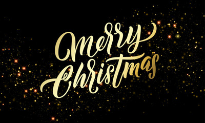 Christmas golden light sparkles and gold calligraphy lettering. Xmas holiday golden glitter light blurs, Merry Christmas vector greeting card