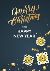 Christmas black poster background design template of golden glittering confetti decoration. Vector Christmas winter holiday calligraphy quote