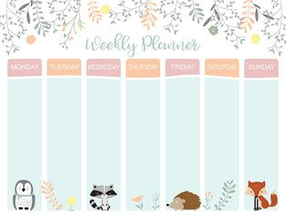 Pastel weekly calendar planner with penguin,flower,fox and porcupine