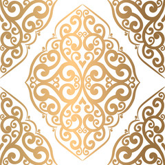 Gold and white vintage vector seamless pattern, wallpaper. Elegant classic texture. Luxury ornament. Royal, Victorian, Baroque elements. Great for fabric and textile, wallpaper, or any desired id