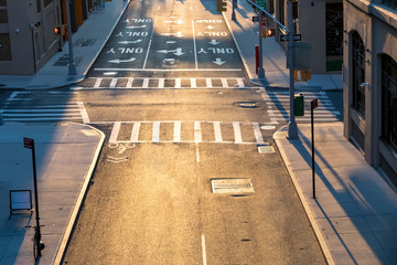 Photo sur Aluminium New York City Overhead view of empty intersection at Pearl and Prospect Streets in Brooklyn New York City