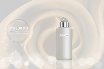 Beauty product, white cosmetic container with advertising background ready to use, luxury skin care ad. illustration vector.