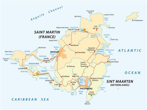 road vector map of Sint Marteen-Sint Maarten