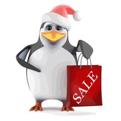 Vector 3d Santa penguin has been to the sales