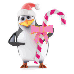 Vector 3d Santa penguin with pink candy