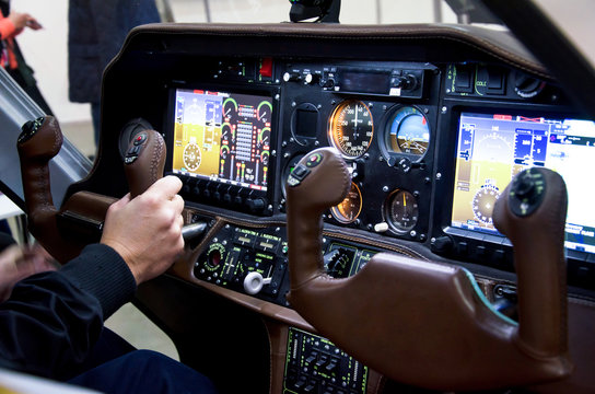 Inside airplane cabin.