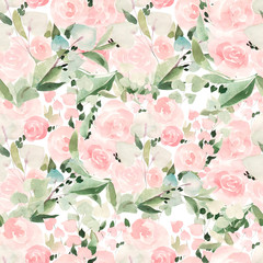 Beautiful bright watercolor pattern with roses and leaves.