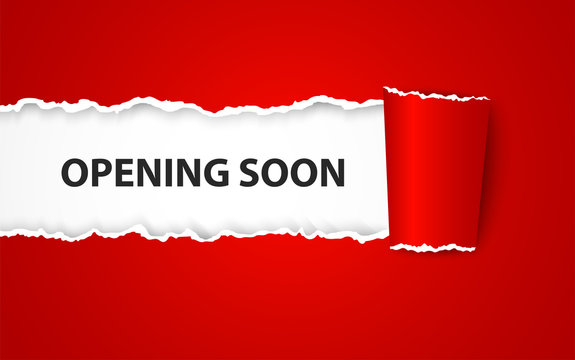 Opening soon background with paper sign