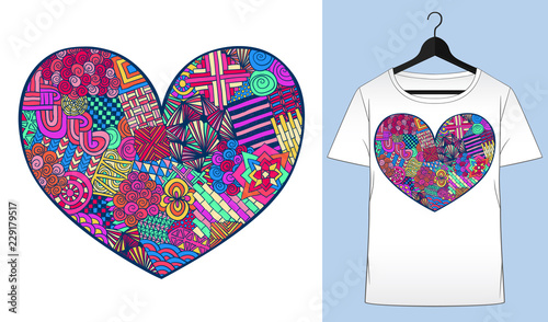 Heart t-shirt  Valentines day  Zentangle heart shape  Colorful