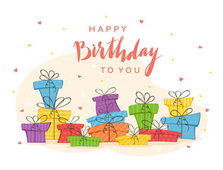 Colorful Presents and Lettering Happy Birthday To You