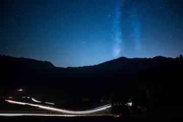 Sterne und Milchstraße an der Passstraße zur Schwägalp