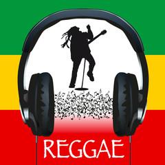musique, reggae, casque, audio, reggae-man, pochette, concert, notes de musique, symbole, affiche, Jamaïque