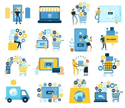 Online Shopping Flat Set