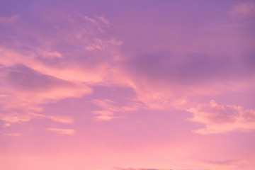 pink and purple sky with cloud in twilight time, fantastic pastel sky. Concept: love, happy, romantic, wonderful feeling.