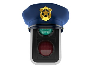 Green traffic light with police hat