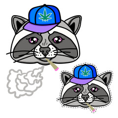 Raccoon boy dressed up in cool hip hop style. Image for print on T-shirts and other souvenir products. Cap and cigarette smokes. Hand drawn illustration isolated on white background.
