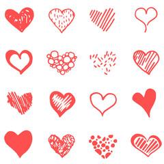 Vector red doodle heart set