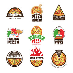 Pizzeria logo. Italian pizza ingredients restaurant cook trattoria lunch colored vector labels or badges. Italian food logo for restaurant pizzeria illustration