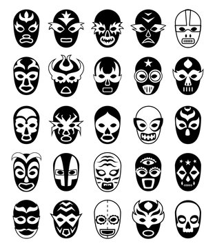 Fighters masks. Mexican lucha libre silhouettes of vector masked luchador isolated. Collection of mask wrestling mexican, wrestler luchador fighter illustration