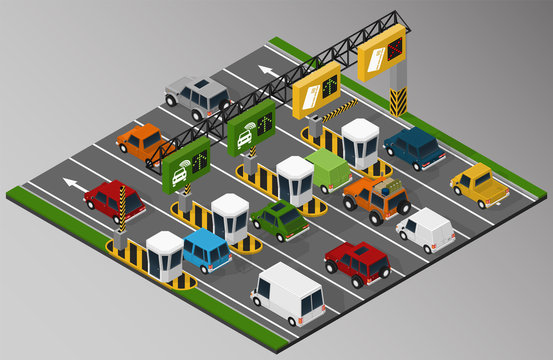 Vector isometric illustration of a toll collection area in the turnpike.