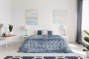 Posters above bed with blue sheets in white bedroom interior with lamps and plant on table. Real photo