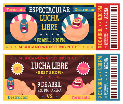 Lucha libre ticket. Mexican wrestlers in masks luchador martial fighting announcement vector design template. Illustration of ticket event to competition mexican sport